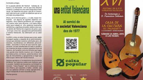 XVI FESTIVAL de la Federación de Orquestas de Pulso y Púa de la Comunidad Valenciana, celebrado el 25-04-2015.