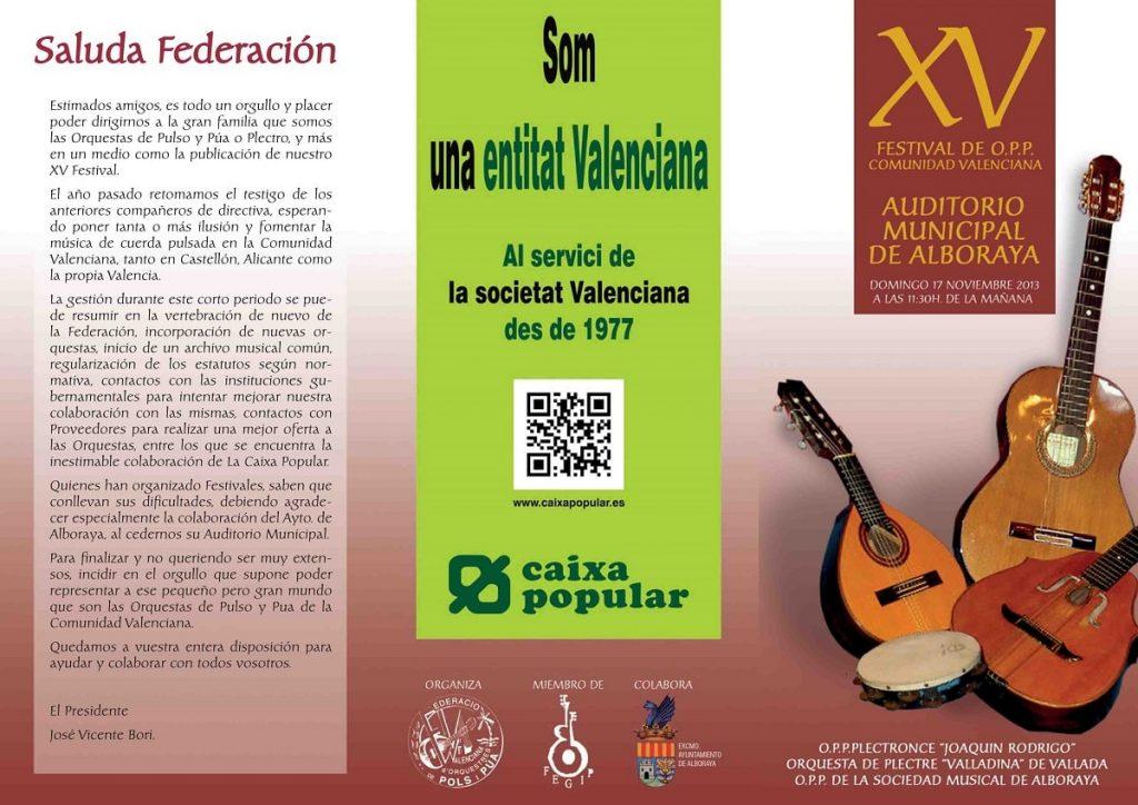 XV FESTIVAL de la Federación de Orquestas de Pulso y Púa de la Comunidad Valenciana